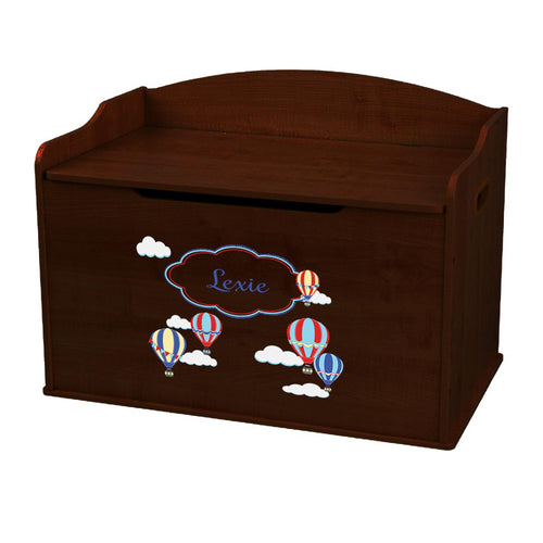 Personalized Hot Air Balloon Primary Espresso Toy Box Bench