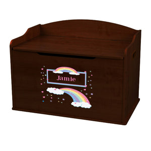 Personalized Rainbow Pastel Espresso Toy Box Bench
