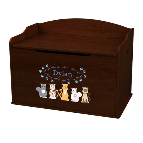 Personalized Blue Cats Espresso Toy Box Bench