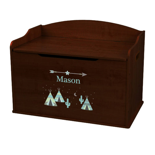 Personalized Teepee Aqua Mint Espresso Toy Box Bench