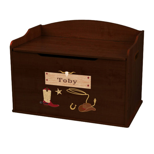 Personalized Wild West Espresso Toy Box Bench