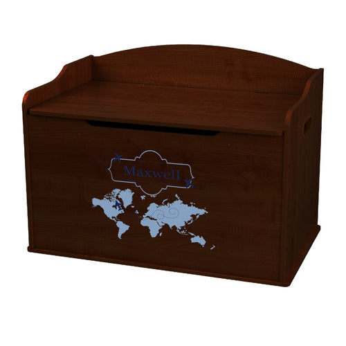 Personalized World Map Blue Espresso Toy Box Bench