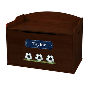Personalized Soccer Balls Espresso Toy Box Bench