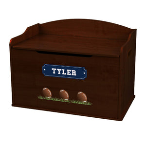 Personalized Footballs Espresso Toy Box Bench