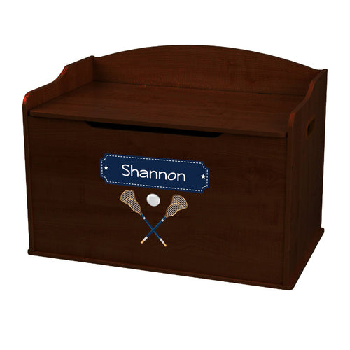 Personalized Lacrosse Sticks Espresso Toy Box Bench