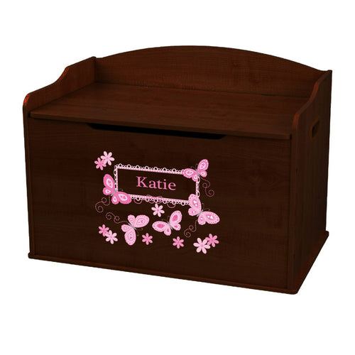 Personalized Butterflies Pink Espresso Toy Box Bench