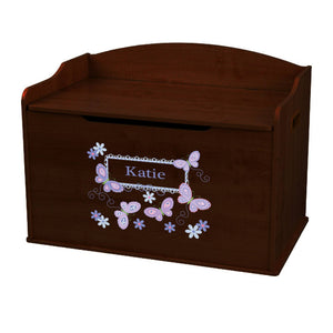Personalized Butterflies Lavender Espresso Toy Box Bench