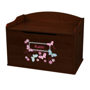 Personalized Butterflies Aqua Pink Espresso Toy Box Bench