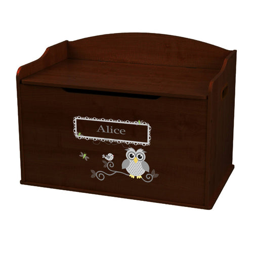 Personalized Gray Owl Espresso Toy Box Bench