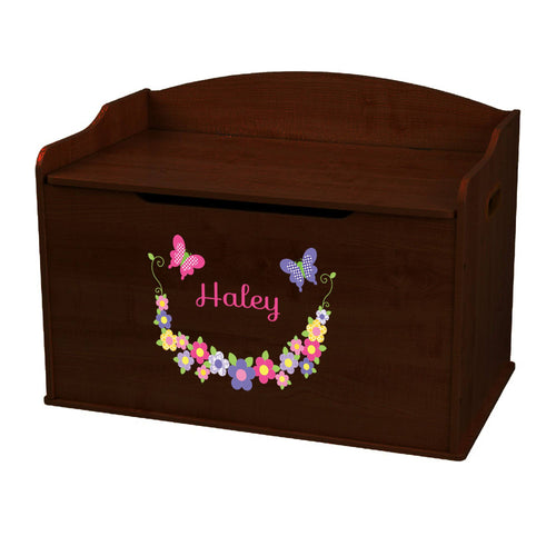 Personalized Bright Butterflies Garland Espresso Toy Box Bench