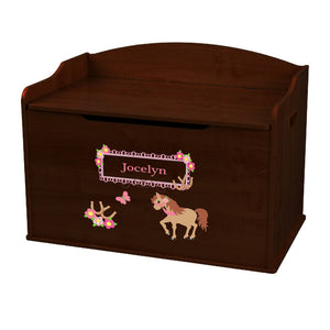 Personalized Ponies Prancing Espresso Toy Box Bench