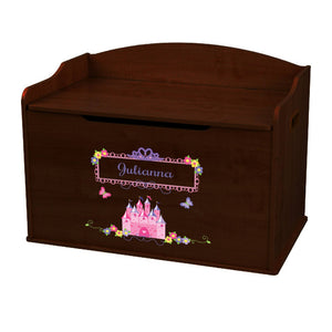 Personalized Princess Castle Espresso Toy Box Bench