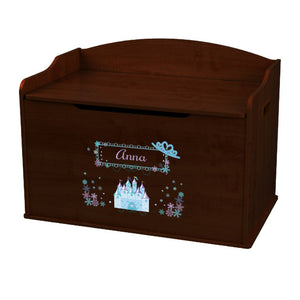Personalized-Ice Princess Castle Espresso Toy Box Bench