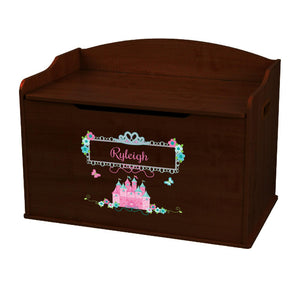 Personalized Pink Teal Princess Castle Espresso Toy Box Bench