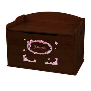 Personalized Pink Bow Espresso Toy Box Bench