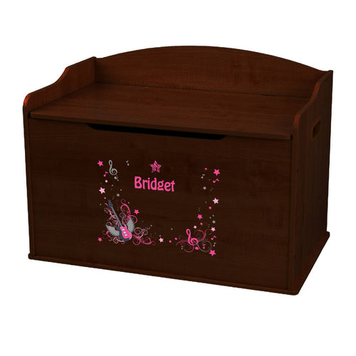 Personalized Pink Rock Star Espresso Toy Box Bench