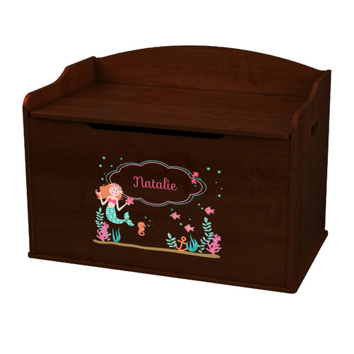 Personalized Mermaid Princess Espresso Toy Box Bench