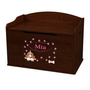 Personalized Pink Puppy Espresso Toy Box Bench