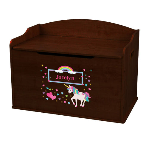 Personalized Unicorn Espresso Toy Box Bench