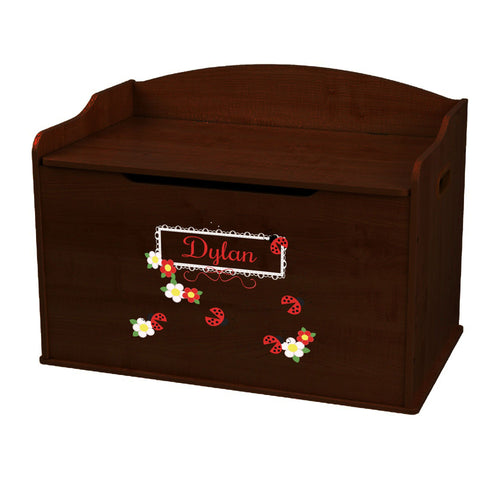 Personalized Red Ladybugs Espresso Toy Box Bench