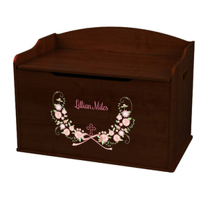 Personalized Espresso Wooden Toy Box with Holy Cross Blush Floral Garland design