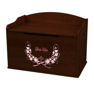 Personalized Espresso Wooden Toy Box with Holy Cross Pink Gray Floral Garland design