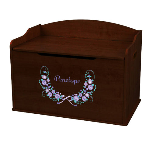 Personalized Lavender Floral Garland Espresso Toy Box Bench