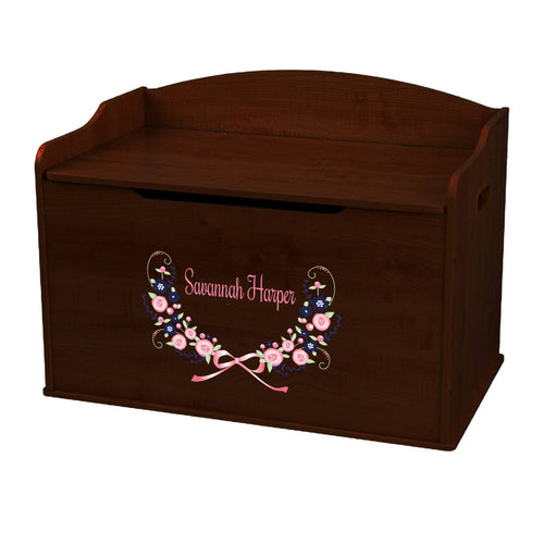Personalized Navy Pink Floral Garland Espresso Toy Box Bench