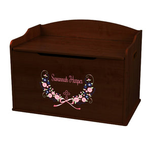 Personalized Espresso Wooden Toy Box with Holy Cross Navy Pink Floral Garland design
