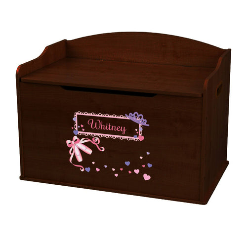 Personalized Ballet Princess Espresso Toy Box Bench