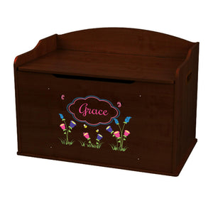 Personalized English Garden Espresso Toy Box Bench
