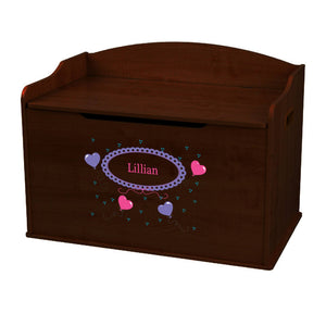 Personalized Heart Balloons Espresso Toy Box Bench