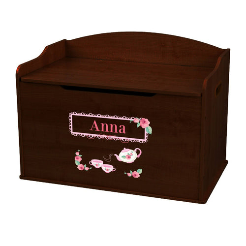 Personalized Tea Party Espresso Toy Box Bench