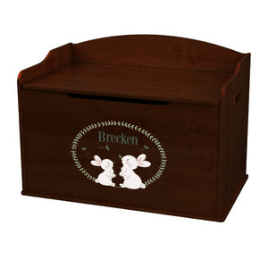 Personalized Classic Bunny Espresso Toy Box Bench