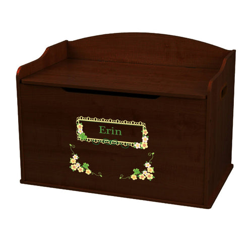 Personalized Shamrock Floral Espresso Toy Box Bench