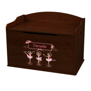 Personalized Ballerina Black Hair Espresso Toy Box Bench