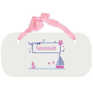 Personalized Girls Wall Plaque with Pink Sailboat design