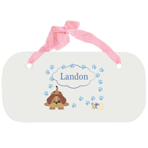 Personalized Girls Wall Plaque with Blue Puppy design