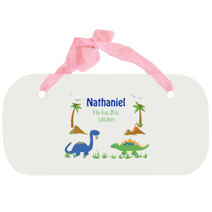Personalized Girls Wall Plaque - Dinosaurs