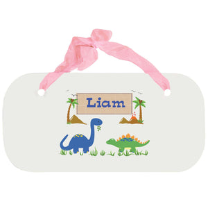 Personalized Girls Wall Plaque with Dinosaurs design