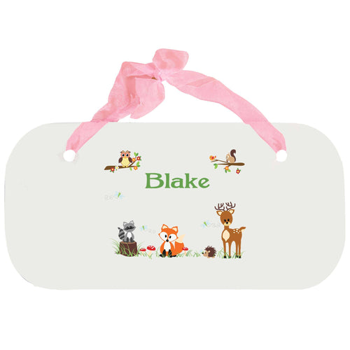Personalized Girls Wall Plaque with Green Forest Animal design