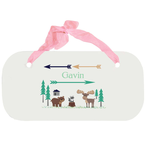 Personalized Girls Wall Plaque with North Woodland Critters design