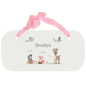 Personalized Girls Wall Plaque with Gray Woodland Critters design
