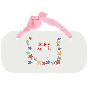 Personalized Girls Wall Plaque - Stitched Stars