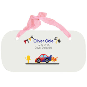 Personalized Girls Wall Plaque - Race Cars