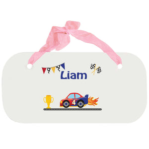 Personalized Girls Wall Plaque with Race Cars design