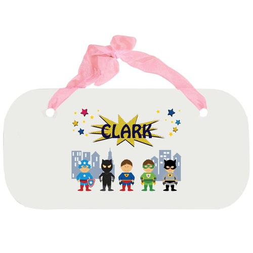 Personalized Girls Wall Plaque with Superhero design