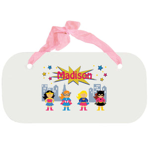 Personalized Girls Wall Plaque with Super Girls design
