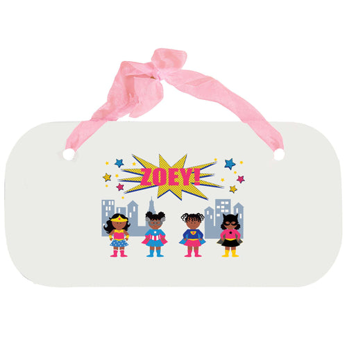 Personalized Girls Wall Plaque with Super Girls African American design