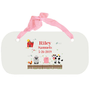 Personalized Girls Wall Plaque - Barnyard Friends